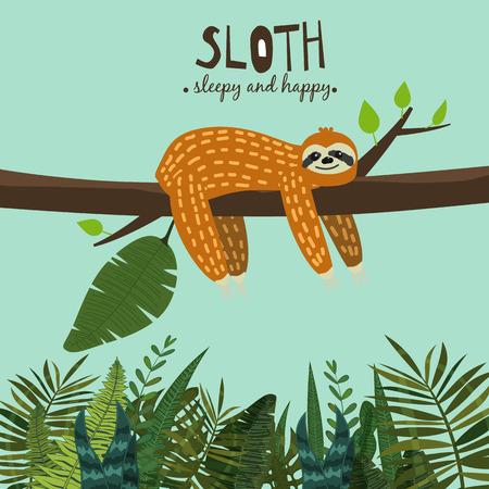 Cute funny sloth hanging on the tree. Sleepy and happy. Adorable hand drawn cartoon animal illustration