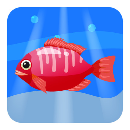 Cute beautiful tropical fish, on sea background, ocean, vector isolated
