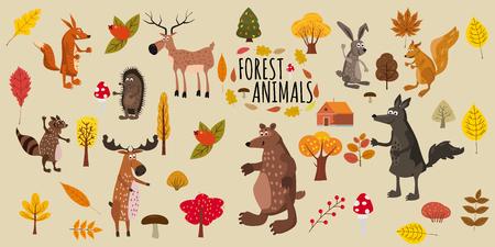 Set of cute forest animals bear, raccoon, squirrel, hare, fox, wolf, hedgehog, moose deer autumn leaves trees