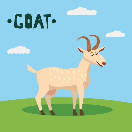 Cute Goat farm animal character, farm animals, vector illustration on field background Vectores