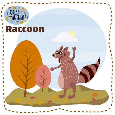 Cute cartoon raccoon on background landscape forest illustration, vector