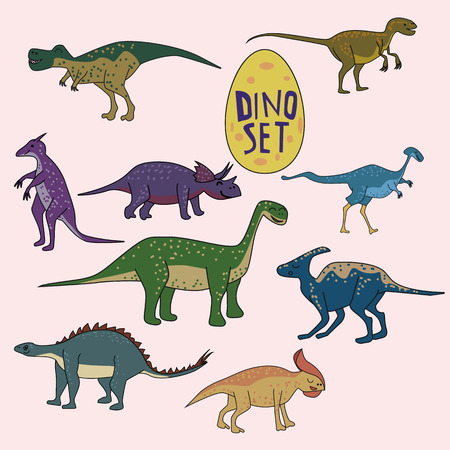 Set of dinosaurs, funny cute animals, isolated vector