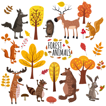 Set of cute forest animals bear, raccoon, squirrel, hare, fox, wolf, hedgehog, moose deer autumn leaves trees