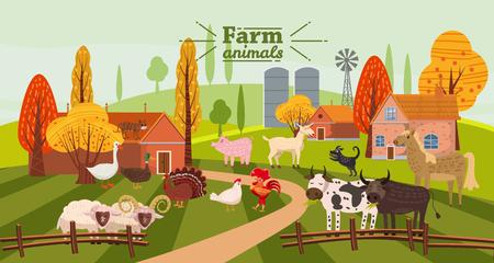Animali da fattoria e uccelli ambientati in uno stile carino e alla moda, tra cui cavallo, mucca, asino, pecora, capra, maiale, coniglio, anatra, oca, tacchino gallo cane gatto toro e pollo Vettoriali