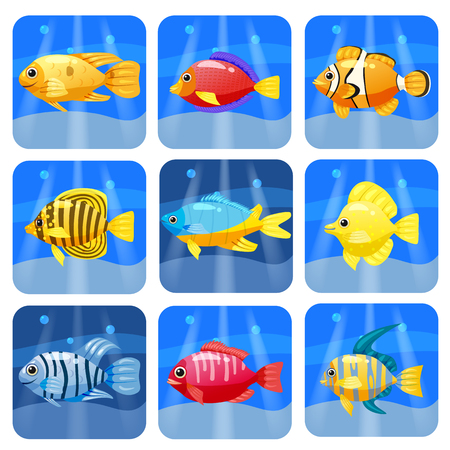 Cartoon trendy colorful reef animals big set. Fishes, mammal, crustaceans.Dolphin and shark, octopus, crab, starfish jellyfish