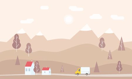 Minimalistic landscape of mountains, trees, houses, background. Concept delivery service landing