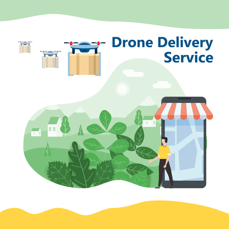 The concept of delivery of the drone flies with the mail, the delivery of parcels. Happy buyer meets flying drone with the parcel. Modern design, background landscape. Internet delivery, concept, idea, vector, illustration for web, shops, animation, mobile apps, advertising, isolated