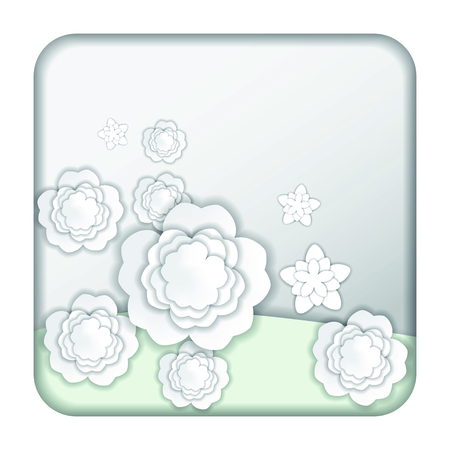 Spring flowers and natural pastel color scheme background paper cut style