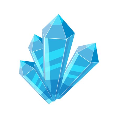 Crystal stone or precious stone. Blue colors. Precious stone Magic, fantasy crystals and semiprecious stones. For games, applications, advertising, sites. Vector illustration, isolated Illustration