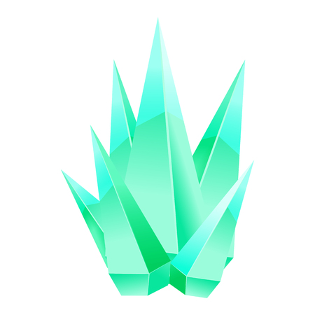 Crystal stone or precious stone. Green colors. Precious stone Magic, fantasy crystals and semiprecious stones. For games, applications, advertising, sites. Vector illustration, isolated