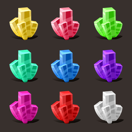 Crystal set. Different colors. Crystal stone or precious stone. Precious stone Magic, fantasy crystals and semiprecious stones. For games, applications, advertising, sites. Vector illustration, isolated