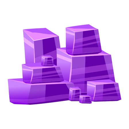 Crystal stone or precious stone. Purple colors. Precious stone Magic, fantasy crystals and semiprecious stones. For games, applications, advertising, sites. Vector illustration, isolated