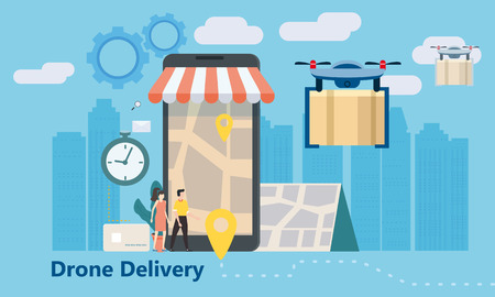 Concept of delivery of the drone flies with the mail, the delivery of parcels