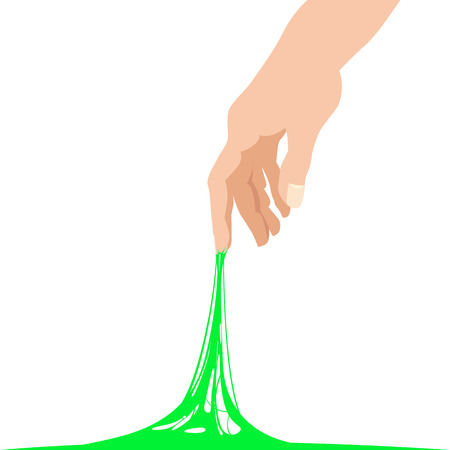 Sticky slime reaching stuck for hand, green banner template 일러스트
