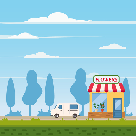 Flower shop, store, delivery truck, landscape background, trend Flat cartoon style, vector illustration, isolated Illustration