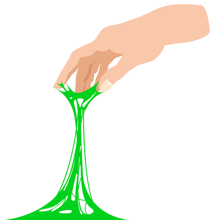 Sticky slime, reaching for stuck by the hand between fingers 일러스트