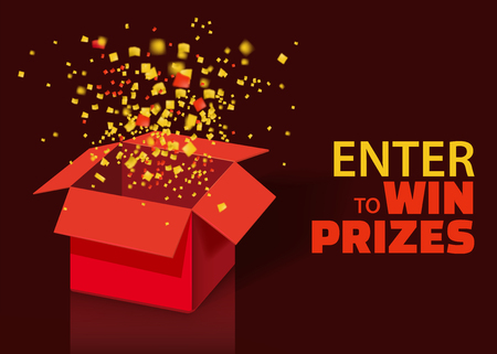 Open Red Gift Box and Confetti With Colorful Particles. Enter to Win Prizes