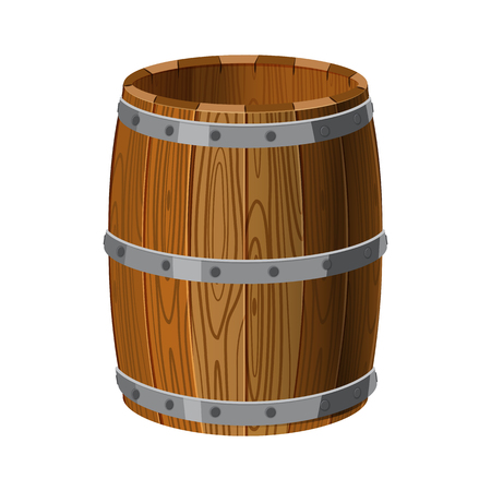 Open arrel wooden with metal stripes, for alcohol, wine, rum, beer and other beverages 向量圖像