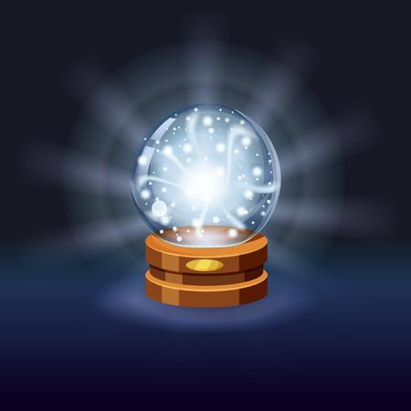 Magic crystal ball shining, magic, predictions, sphere light effects Vetores