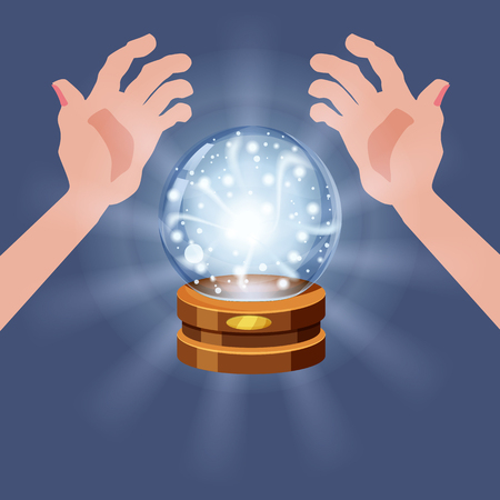 Magic crystal ball shining, open hands, magic, predictions, sphere light effects
