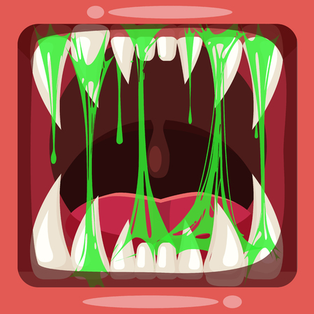 Predatory jaws of a monster with slime , green glue jelly