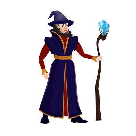 Zauberer mit Zauberstab. Ein Bild eines alten Magiers, der einen Hut mit Bart in einem Mantel trägt und einen Stock mit magischem Kristall hält. Illustration für Spiele, Anwendungen, isoliert, Cartoon-Stil Vektorgrafik