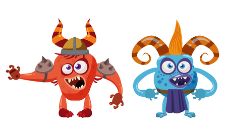 Goblin Troll anf Devil cute funny fairytale character, emotions, cartoon style, for books, advertising, stickers, vector, illustration, banner, isolated