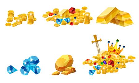Establecer tesoro, oro, monedas, barras de pepita de oro de roca joyas corona
