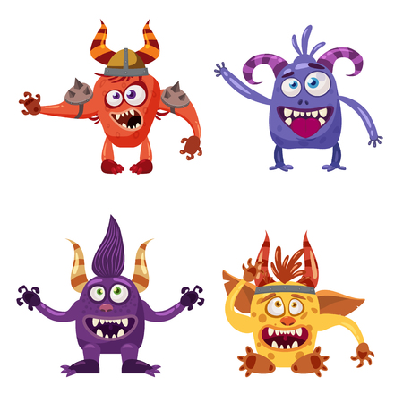 Set of cute funny characters troll, goblin, yeti, imp, with different emotions, cartoon style, for books, advertising, stickers, vector, illustration, banner, isolated