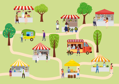 Outdoor street food festival with people walking between vans or caterers, canopy, buying meals, eating and drinking, taking selfie, talking to each other. Template, flyer, baner, invitation, card poster. Cartoon flat colorful vector illustration