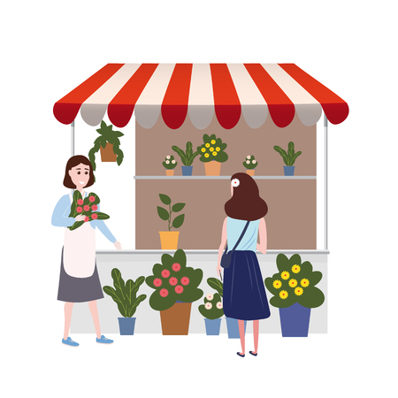 Street Flowers floral market talls canopy. Seller and Buyers. Vector, Illustration, Isolated, Banner, Template Cartoon flat Stock Illustratie