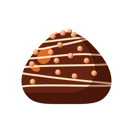 Chocolate covered bonbon candy stuffed nougat, mousse, cream. Vector illustration candy catoon icon isolated on white background