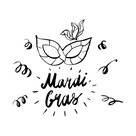 Mardi Gras hand drawn lettering and mask for Brasil carnaval, Carnival, Spain carnival masquerade festival concept for celebration template poster, banner, icon, printing. Vector isolated