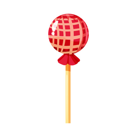 Lollipop colorful sweet. Round candies on stick in bright color packaging