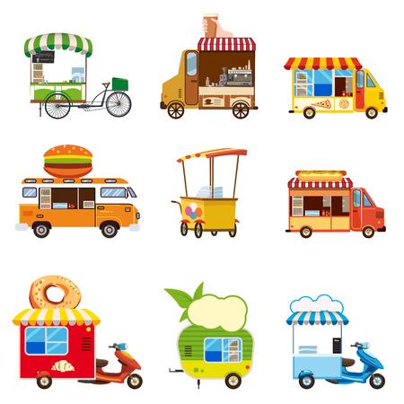 Conjunto de vehículos de comida callejera, autobuses, camiones, quioscos, pizza, barbacoa, helados, comida vegana, hot dog, hornear, vector, ilustración, aislado, estilo de dibujos animados
