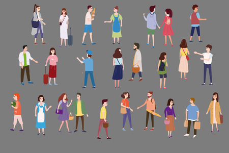 Set a crowd of people characters go about their business, make purchases, loving couples, single, sellers, buyers Illustration
