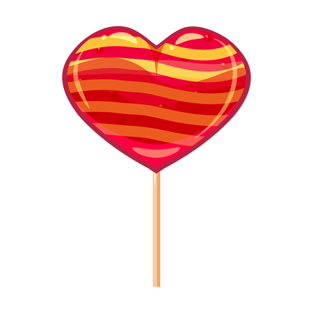 Heart shaped lollipop dessert icon on stick. Sweet food icon. Detailed lollipop icon can be used for art design Valentine s Day. Vector banner, poster, flyer, isolated