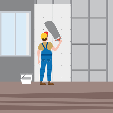 Workers put plaster, installing gypsum plasterboard panels in the interior. Vector illustration, isolated. Construction industry, repair, new home, building interior