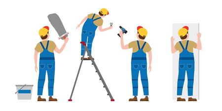 Ensemble Les travailleurs mettent du plâtre sur un escabeau, avec un tournevis, installant des panneaux de plaques de plâtre. Illustration vectorielle, isolée. Industrie de la construction, réparation, nouvelle maison, intérieur du bâtiment Vecteurs