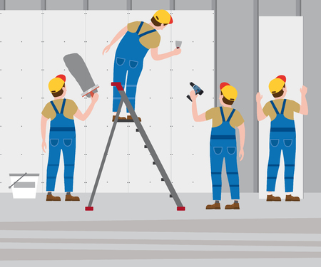 Workers put plaster on a stepladder, installing gypsum plasterboard panels in the interior. Vector illustration, isolated. Construction industry, repair, new home, building interior Illustration