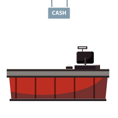 Cashier counter in the supermarket, shop, store