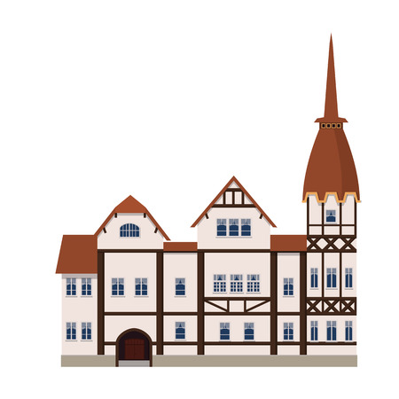 Old house, home, building, facade, Europe, medieval tradition. European architectural style. Vector illustration isolated on white background