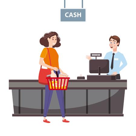 Il cassiere dietro il bancone della cassa del supermercato, negozio, negozio serve l'acquirente, una donna con un cesto pieno di generi alimentari. Vettore, illustrazione, stile cartone animato, isolato