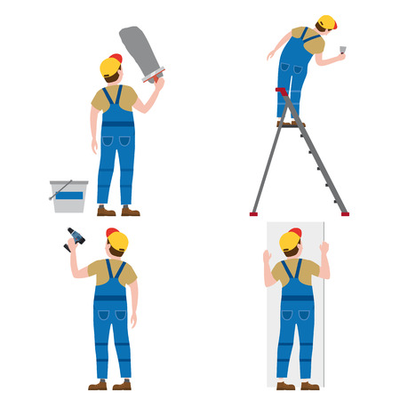 Set Workers put plaster on a stepladder, with a screwdriver, installing gypsum plasterboard panels. Vector illustration, isolated. Construction industry, repair, new home, building interior Vecteurs