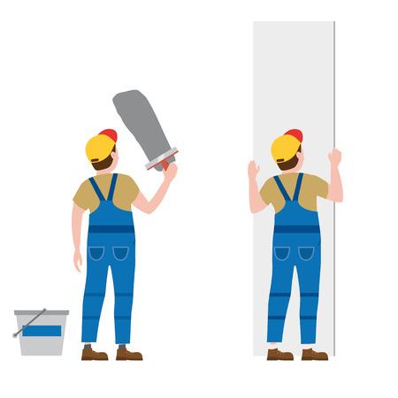 Les travailleurs mettent du plâtre, installent des panneaux de plaques de plâtre. Illustration vectorielle, isolée. Industrie de la construction, réparation, nouvelle maison, intérieur du bâtiment Vecteurs