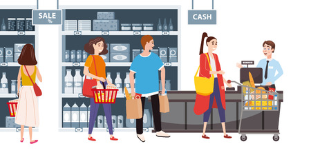 Supermarket or store interior with shelves and goods, groceries, cash desk and cashier. Men and women buyers, cart products. Big shopping center. Vector, illustration, isolated, cartoon style