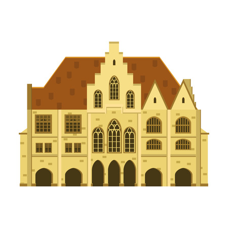 Vieille maison, maison, immeuble, façade, Europe, tradition médiévale. Style architectural européen. Illustration vectorielle isolée sur fond blanc Vecteurs