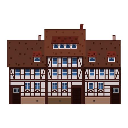Vieille maison, maison, immeuble, façade, Europe, tradition médiévale. Style architectural européen. Illustration vectorielle isolée sur fond blanc