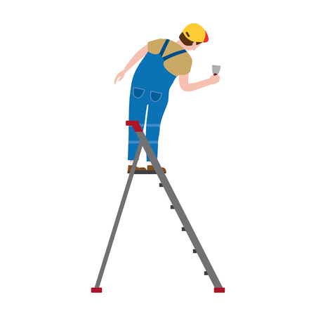 Professional working man on a stepladder applies plaster. Vector illustration, isolated. Construction industry, repair, new home, building interior Ilustração
