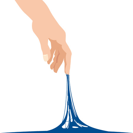Sticky slime reaching stuck for hand, blue banner template
